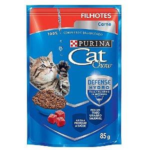Ração Úmida Cat Chow Sachê Gatos Filhotes Sabor Carne 85g - Purina