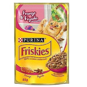 Ração Úmida Friskies Sachê Gatos Adultos Sabor Frango e Fígado ao Molho 85g - Purina