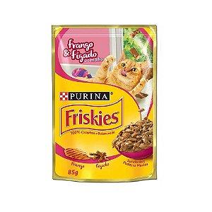 Alimento Úmido Para Gatos Sachê Frango e Fígado Combo 15un 85g Cada - Friskies