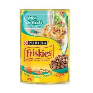 Alimento Úmido Para Gatos Sachê Mix de Peixes 85g - Friskies