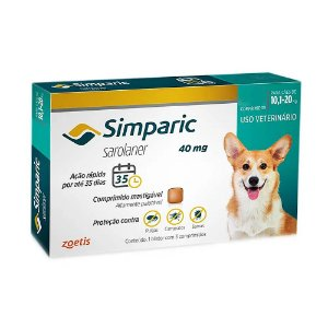Simparic Antipulgas 40mg 10,1 a 20kg Combo 3 Tabletes - Zoetis