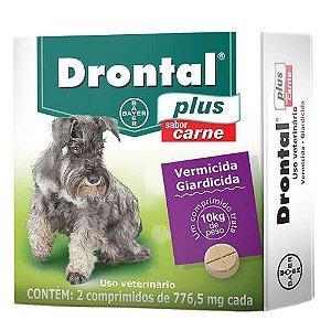 Vermífugo Drontal Plus 10kg Sabor Carne 2 Comprimidos -Bayer