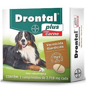 Vermífugo Drontal Plus 35kg Sabor Carne 2 Comprimidos -Bayer