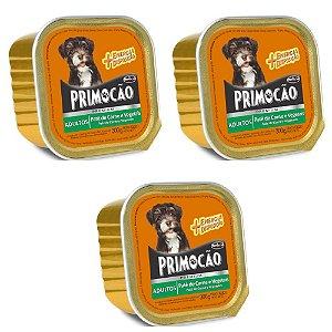 KIT 3UN Alimento Primocão Premium Patê Carne e Vegetais 300g