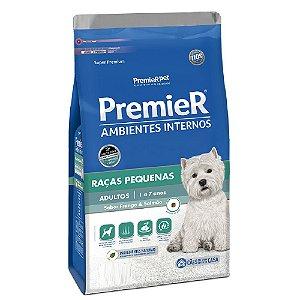 Ração Super Premium Premier Ambientes Internos Cães Adultos Raças Pequenas Sabor Frango e Salmão 7,5kg - PremierPet