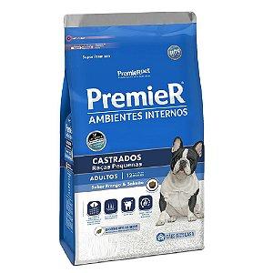 Ração Super Premium Premier Ambientes Internos Cães Adultos Castrados Raças Pequenas Sabor Frango e Salmão 12kg - PremierPet