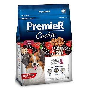 Petiscos Biscoito Premier Cookie Assados Cães Adultos Sabor Frutas Vermelhas e Aveia 250g - Sem Trangênicos - PremierPet