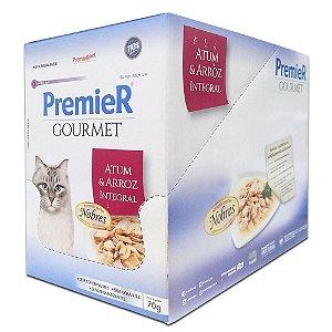 Ração Úmida Super Premium Premier Gourmet Gatos Sachê Sabor Atum e Arroz Integral Display 12un 70g Cada - PremierPet