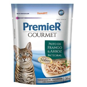 Ração Úmida Super Premium Premier Gourmet Gatos Sachê Sabor Peito de Frango e Arroz Integral 70g - PremierPet