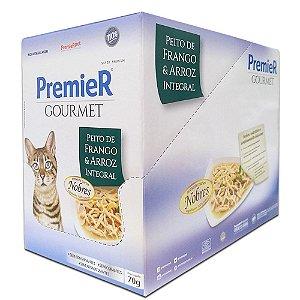 Ração Úmida Super Premium Premier Gourmet Gatos Sachê Sabor Peito de Frango e Arroz Integral Display 12un 70g Cada - PremierPet