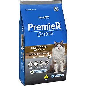 Ração Super Premium Premier Gatos Castrados A partir de 6 Meses até 7 anos Ambientes Internos Sabor Salmão 1,5 kg - PremierPet