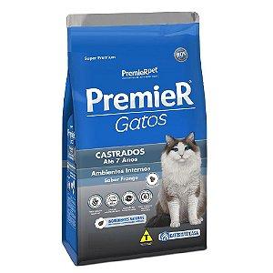 Ração Super Premium Premier Gatos Castrados A partir de 6 Meses até 7 anos Ambientes Internos Sabor Frango 1,5kg - PremierPet
