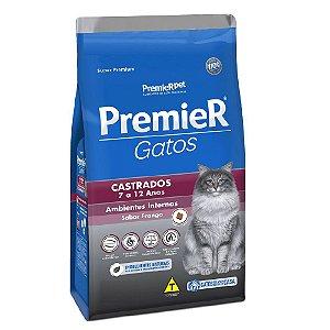 Ração Super Premium Premier Gatos Castrados 7 a 12 anos Ambientes Internos Sabor Frango 500 g - PremierPet