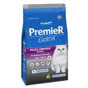 Ração Super Premium Premier Gatos Adultos Pelos Longos Ambientes Internos Sabor Salmão 7,5kg - PremierPet