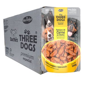 Kit 12Un Sachê Three dogs Premium Ad. Raças M e G Carne 100g