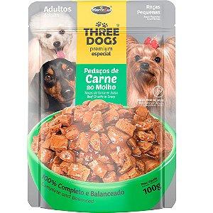 Sachê Three dogs Premium Original Ad. Raças P Carne 100g
