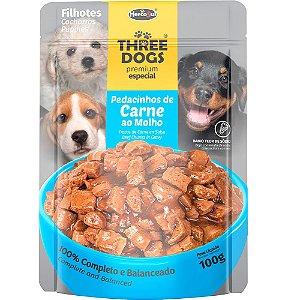Sachê Three dogs Premium Original Filhotes Carne 100g