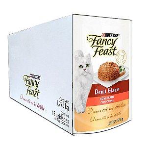 Ração Úmida Fancy Feast Sachê Gatos Adultos Demi Glace Sabor Carne Caixa 15un 85g Cada - Purina