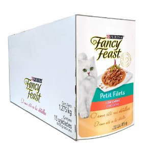 Kit 15un Sachê Fancy Feast Petit Filets Carne 85g Purina