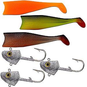 Kit 03un Cabeça + 03un Shad 21cm (Laranja + Verde + Marrom )
