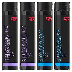 Combo Ibasa 2un Shampoo Neutro 250ml + 2 Condicionador 250ml