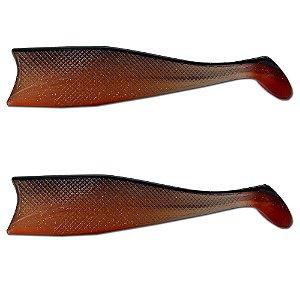 Kit 02Un Isca Artificial Shad Para Garoupa 21cm Marrom