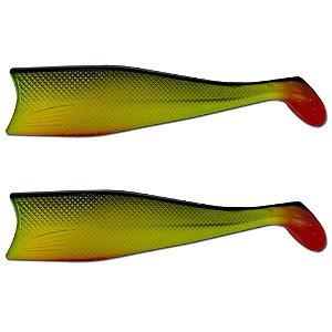 KIT 2UN Isca Artificial Shad Para Garoupa 21cm Verde