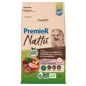 Ração Super Premium Premier Nattu Cães Filhotes Porte Pequeno Sabor Frango e Mandioca 2,5kg - PremierPet