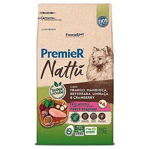 Ração Super Premium Premier Nattu Cães Adultos Raças Pequenas Sabor Frango e Mandioca 2,5kg - PremierPet