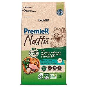 Ração Super Premium Premier Nattu Cães Adultos Raças Pequenas Sabor Frango e Abobora 2,5kg - PremierPet