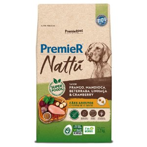Ração Super Premium Premier Nattu Cães Adultos Raças Médias e Grandes Sabor Frango e Mandioca 12kg - PremierPet