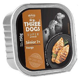 Ração Úmida Three Dogs Super Premium Patê Cães Sênior 7+ Sabor Frango 150g - Hercosul