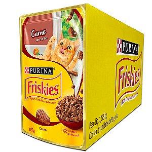 Ração Úmida Friskies Sachê Gatos Adultos Sabor Carne ao Molho Caixa 15un 85g Cada - Purina