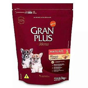 Ração Gran Plus Menu Cães Filhotes Mini Frango Arroz 3kg