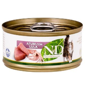 Ração Úmida N&D Lata Gatos Sabor Atum com Lula 70g