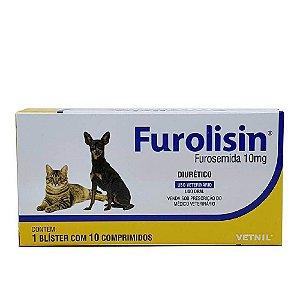 Furolisin 10mg Diurético Cães e Gatos 10 Comprimidos - Vetnil