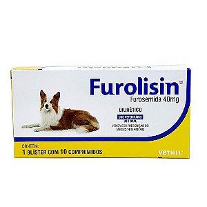 Furolisin 40mg Diurético Cães e Gatos 10 Comprimidos - Vetnil