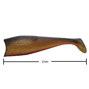 Isca Artificial Shad Para Garoupa 21cm Dourado
