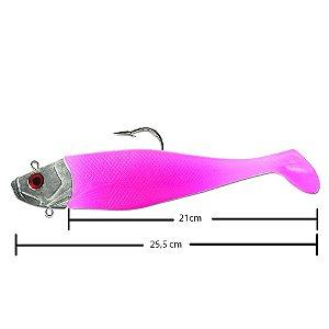 Isca Artificial Shad Para Garoupa 21cm Rosa C/Cabeça