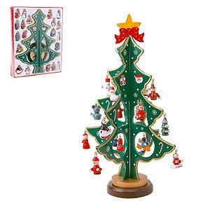 Mini Árvore De Natal Em Madeira - 24,5 Cm