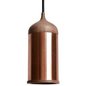 Pendente Cope 11,2cmX28cm 1XE14 Madeira-Cobre Bella - XN009