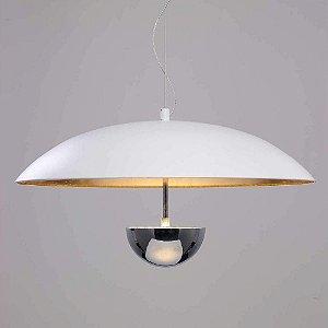 Pendente Brolly 43x43cm LED 12W Branco Dourado MN002 - Bella