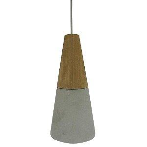 Pendente Duo Cinza/madeira 1xg9 Bella Iluminação - Id007