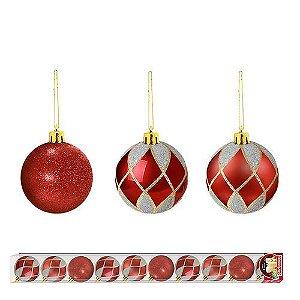 Bola de Natal Vermelho com Prata 10 unidades