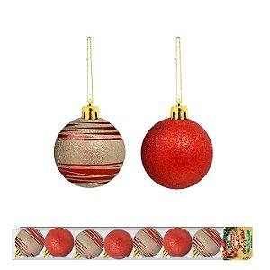 Bola de Natal Vermelho com Dourado 8 unidades