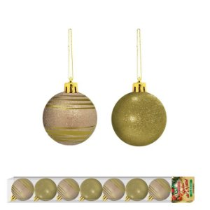Bola de Natal linha Mônaco Dourado 8 unidades