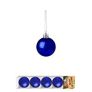 Enfeite Bola de Natal Lisa 4cm x 5 Peças Azul