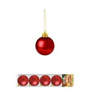 Enfeite Bola de Natal Lisa 4cm x 5 Peças Vermelha