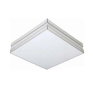 Luminária LED 16W 3000k Sobrepor Branco Bilbao 26x26 Tualux