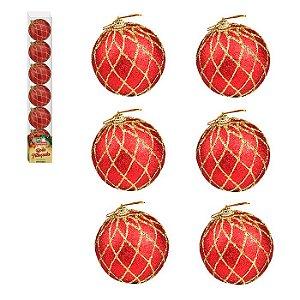 Enfeite Bola de Natal 6cm 6 Peças Vermelho com Dourado